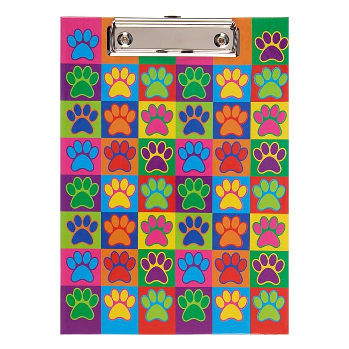 Планшет с зажимом А5, ламинированный картон Канцбург «Лапки»