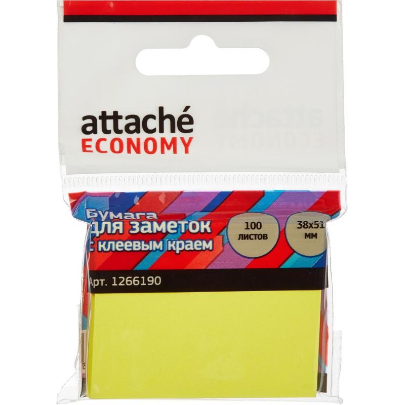 Стикеры Attache Economy с клеев.краем 38x51 мм, 100 лист неоновый желтый