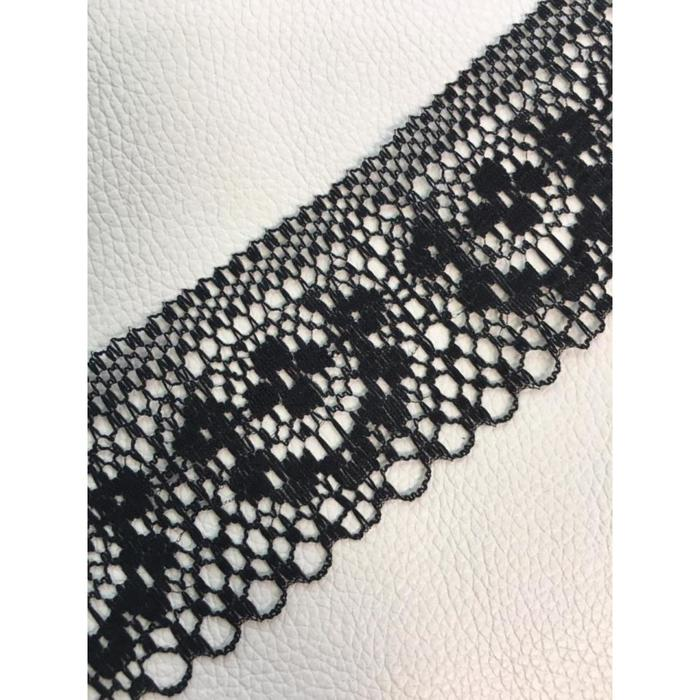 Кружево, размер 4 см, 1 м, цвет чёрный