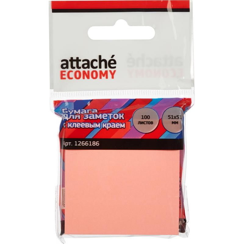 Стикеры Attache Economy с клеев.краем 51x51 мм 100 лист неоновый розовый