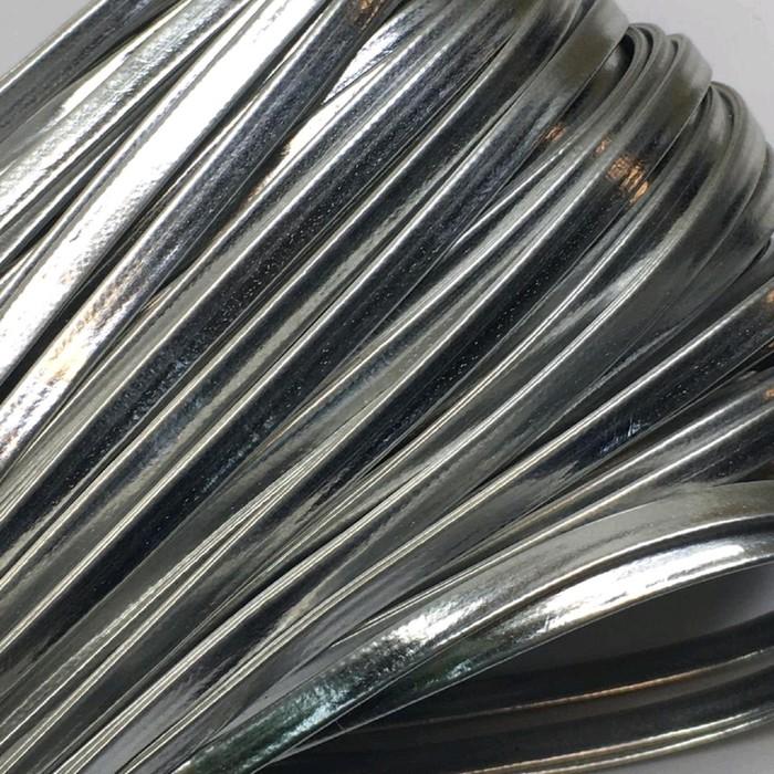 Шнур декоративный, кожзам, 4 мм, цвет серебро