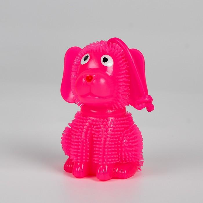 Ёжка световой «Собачка», с пищалкой, на резинке , цвета МИКС