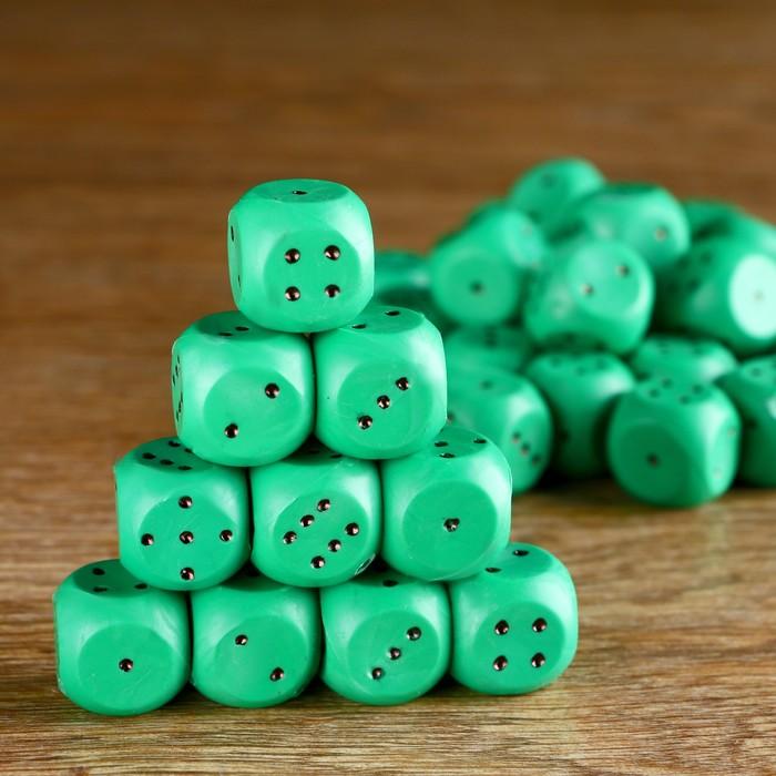 Кубик игральный 1.5х1.5х1.5 см, цветной, зеленые