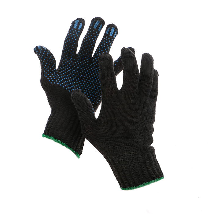 Перчатки, х/б, вязка 7 класс, 3 нити, размер 9, с ПВХ точками, чёрные