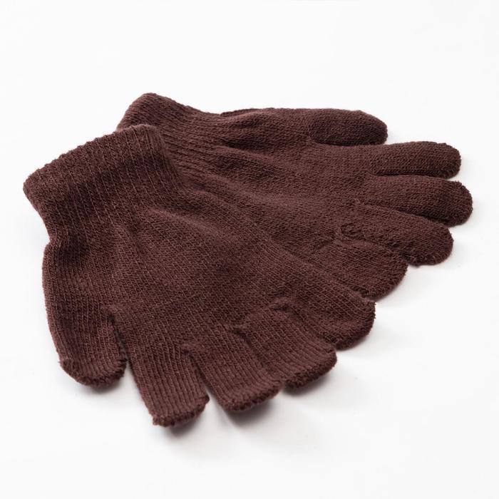 """Перчатки детские MINAKU """"Однотонные"""",цв. коричневый, р-р 15 (6-8 лет)"""