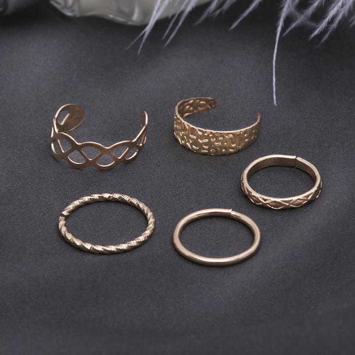"""Кольцо на фалангу набор 5 штук """"Ассорти"""", цвет золото, размер 14,15,16 МИКС"""