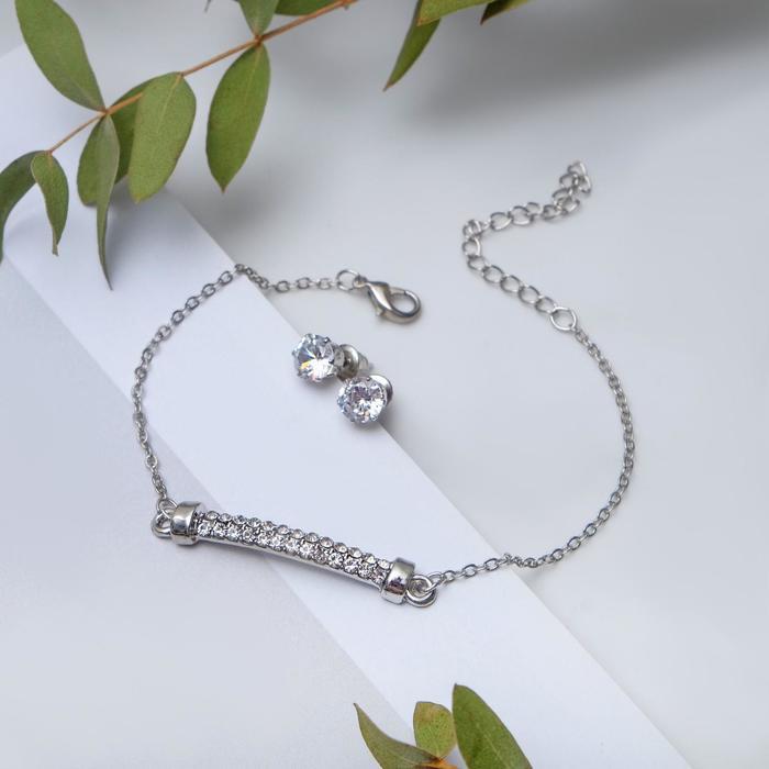 """Набор 2 предмета: браслет, пуссеты """"Модерн"""" ряд страз, цвет белый в серебре"""