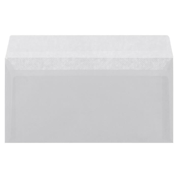 Конверт Е65 110x220 мм, чистый, без окна, силиконовая лента, серая запечатка, 80 г/м?, в упаковке 1000 шт.