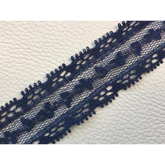 Кружево, размер 2 см, 1 м, цвет синий