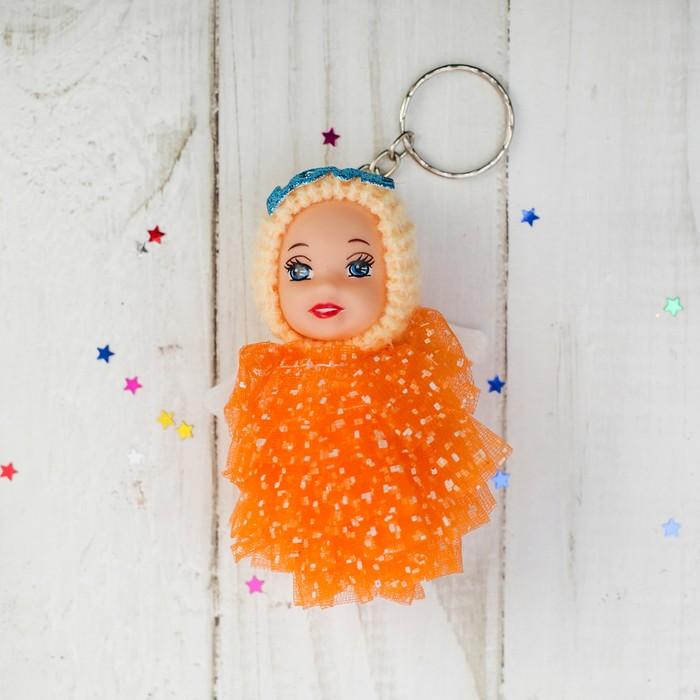 Куколка-брелок «Девочка-ангелочек», платье в крапинку, цвета МИКС