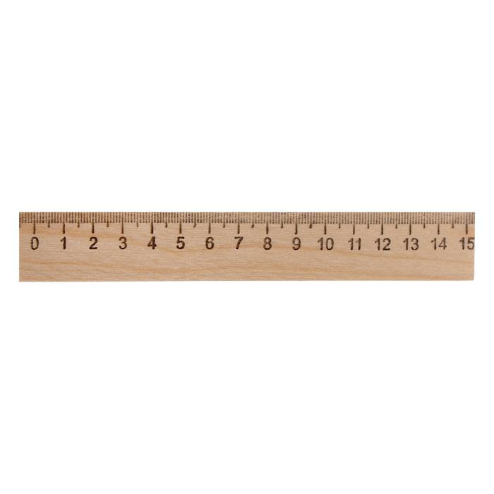 Линейка деревянная 15 см, Calligrata (штрих-код), Россия