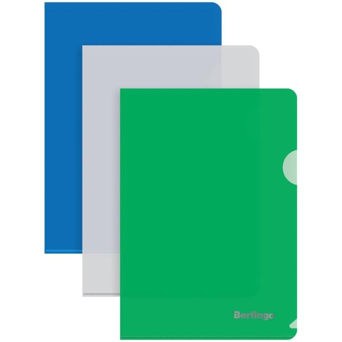 Папка-уголок А5, 180 мкм, Berlingo, синяя