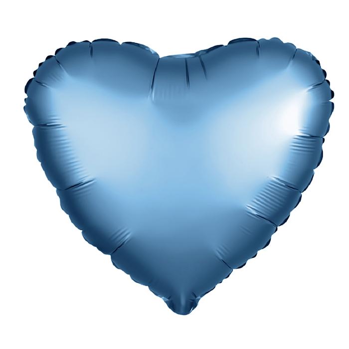 """Шар фольгированный 5"""" «Сердце» с клапаном, матовый, цвет синий"""