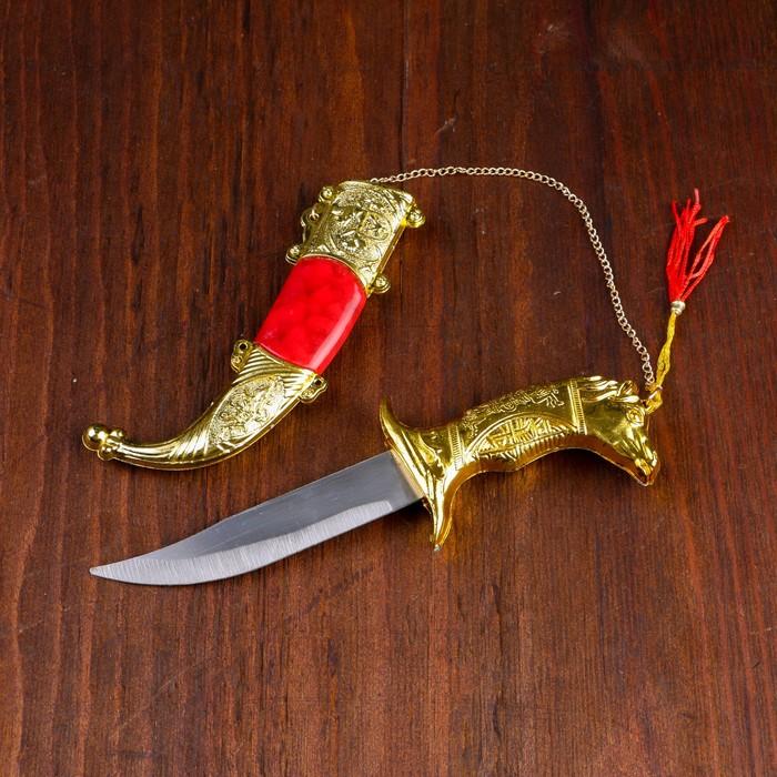 Сувенирный нож,19 см, рукоять в форме головы лошади, микс