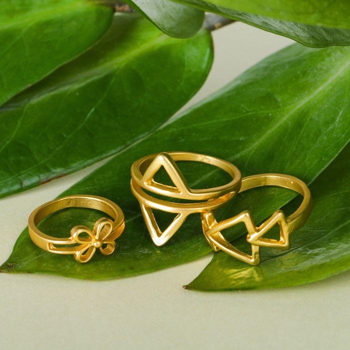 """Кольцо """"Ассорти"""" треугольники, размер 14,17,18 МИКС, цвет матовое золото"""