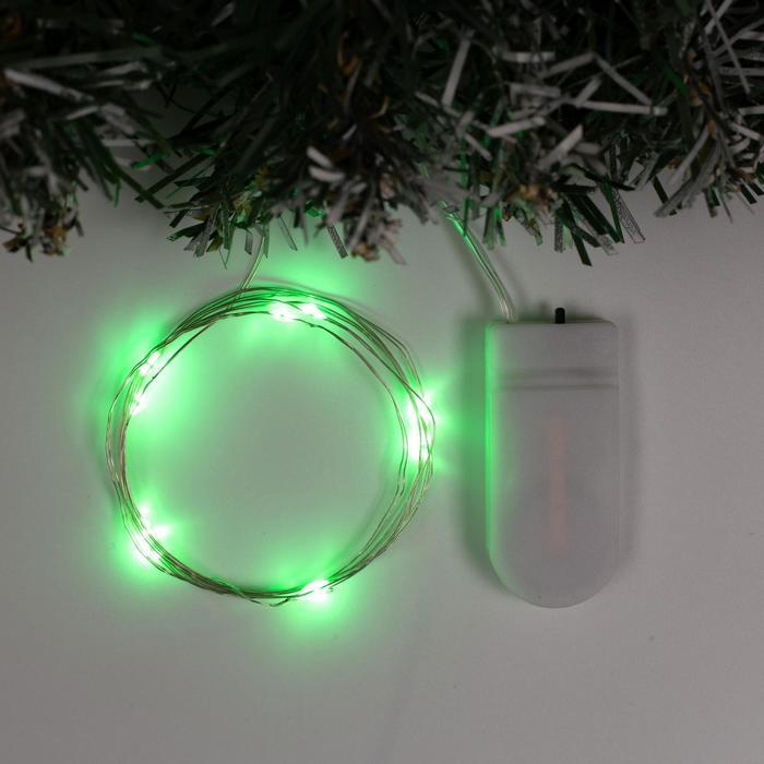 """Гирлянда """"Нить"""" 1 м роса, IP20, серебристая нить, 10 LED, свечение зелёное, фиксинг, 2 х CR2032"""