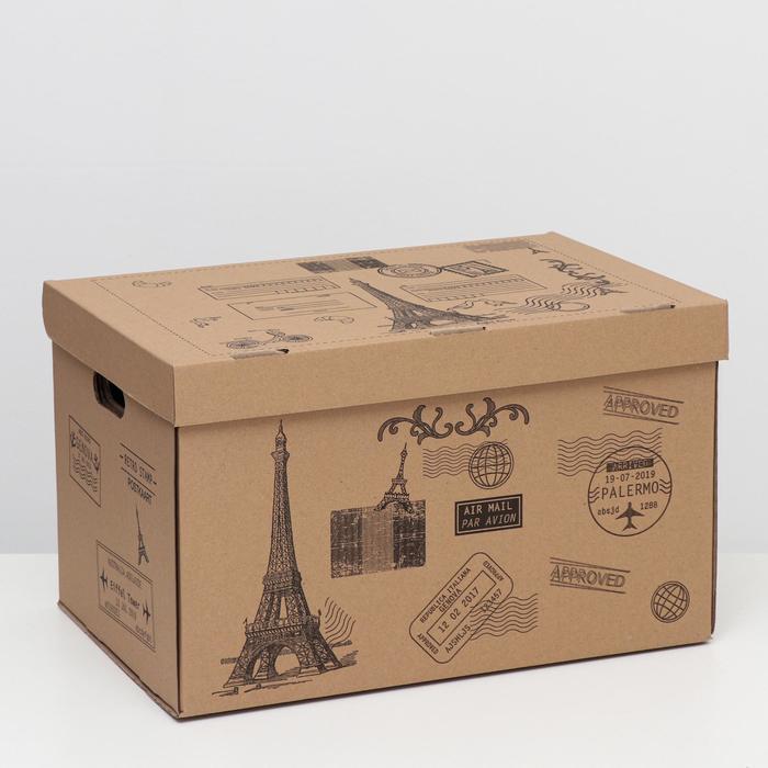 """Коробка для хранения """"Франция"""", бурая, 48 х 32,5 х 29,5 см,"""
