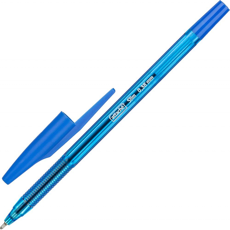 Ручка шариковая Attache Slim синяя, тонир.корп, 0,38/0,5мм