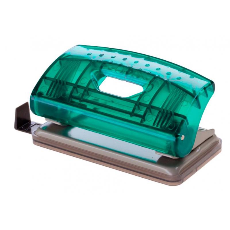 Дырокол Office Force Mini Transparent,зел.проз,10л,2отв d6мм