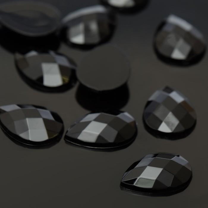 Стразы плоские капля, 13*18 мм, (набор 10шт), цвет черный