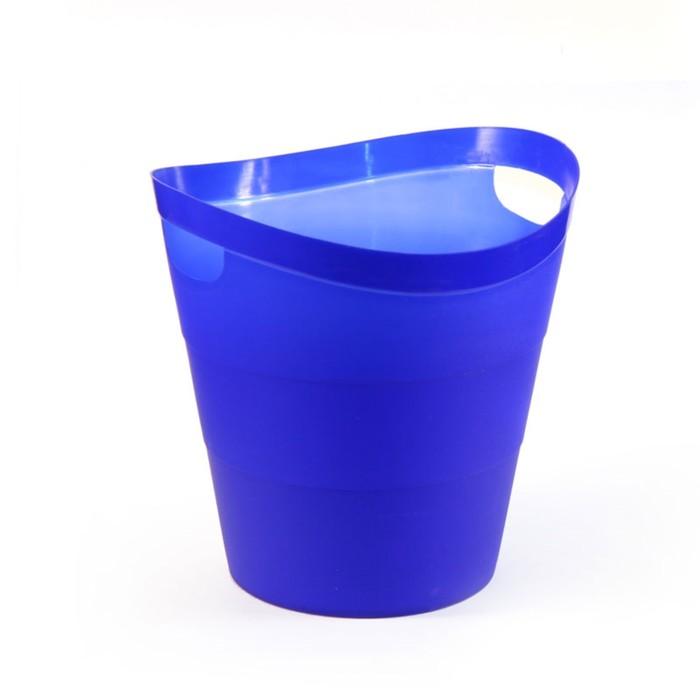 "Корзина для бумаг пластик цельная 14л Uni ""2002"", ультрамарин"
