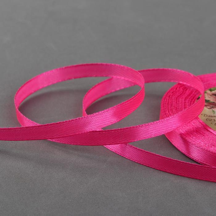 Лента атласная, 6 мм ? 23 ± 1 м, цвет ярко-розовый №89
