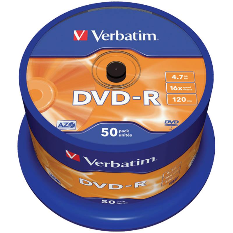 Диск DVD-R 4.7Gb Verbatim 16x Cake Box (50шт)