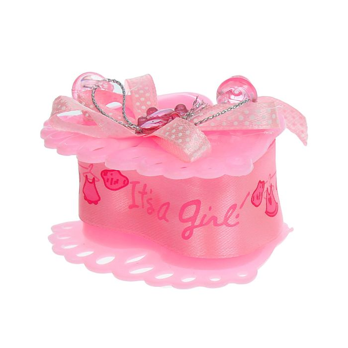 Бонбоньерка «Пяточки», с мишкой, цвет розовый