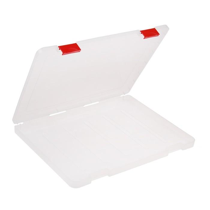 Папка для документов А4, с красными защелками, 230 х 305 х 23 мм, прозрачный корпус