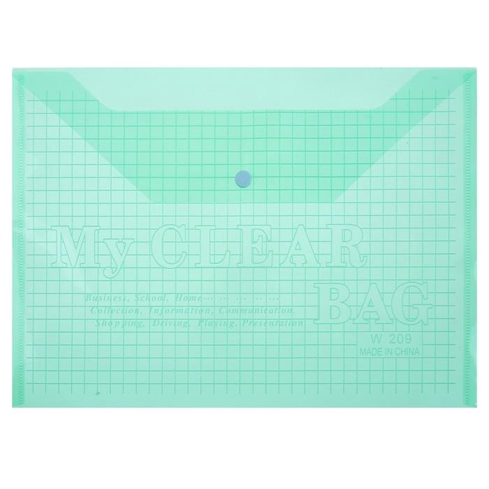 Папка-конверт на кнопке, формат А4, 80 мкр, «Клетка», тонированная, зелёная