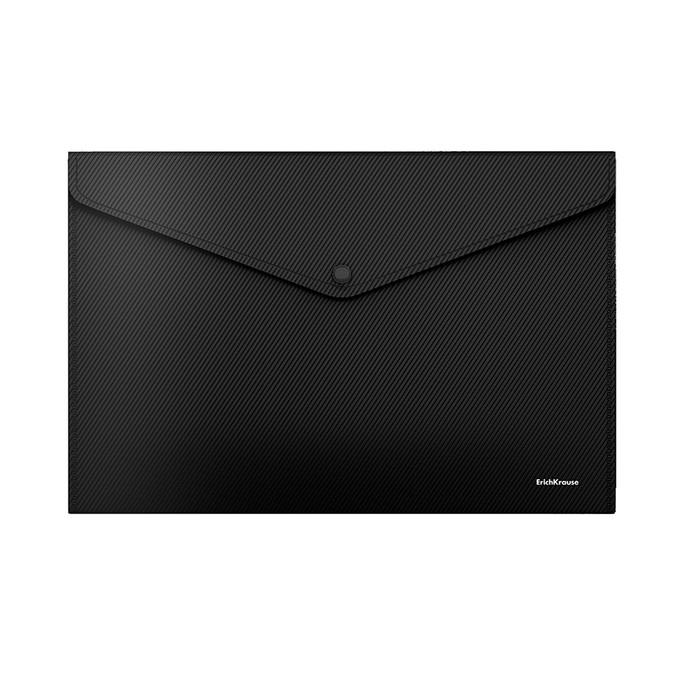 Папка-конверт на кнопке, пластиковая, Erich Krause Classic Diagonal Black Line, непрозрачная, A4