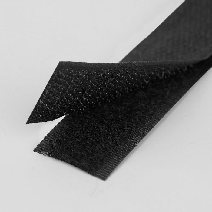 Липучка, 20 мм ? 25 см, цвет чёрный