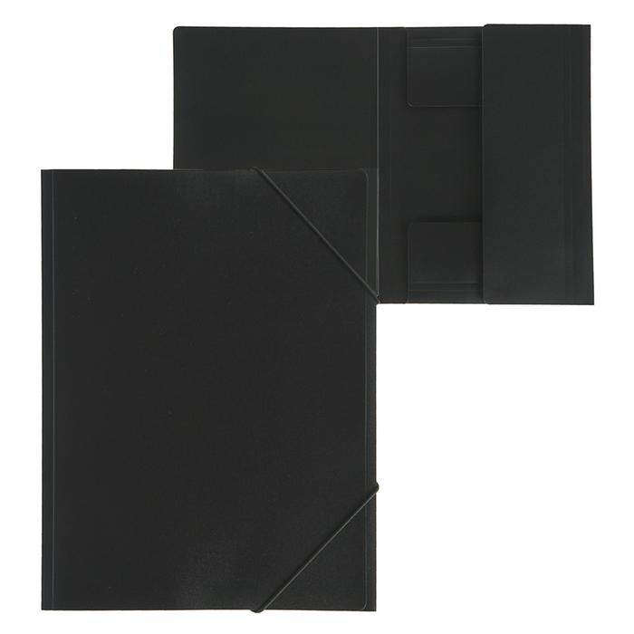 """Папка на резинке А4, 500 мкм Calligrata, корешок 4 мм, до 300 листов, тиснение """"песок"""", чёрная"""