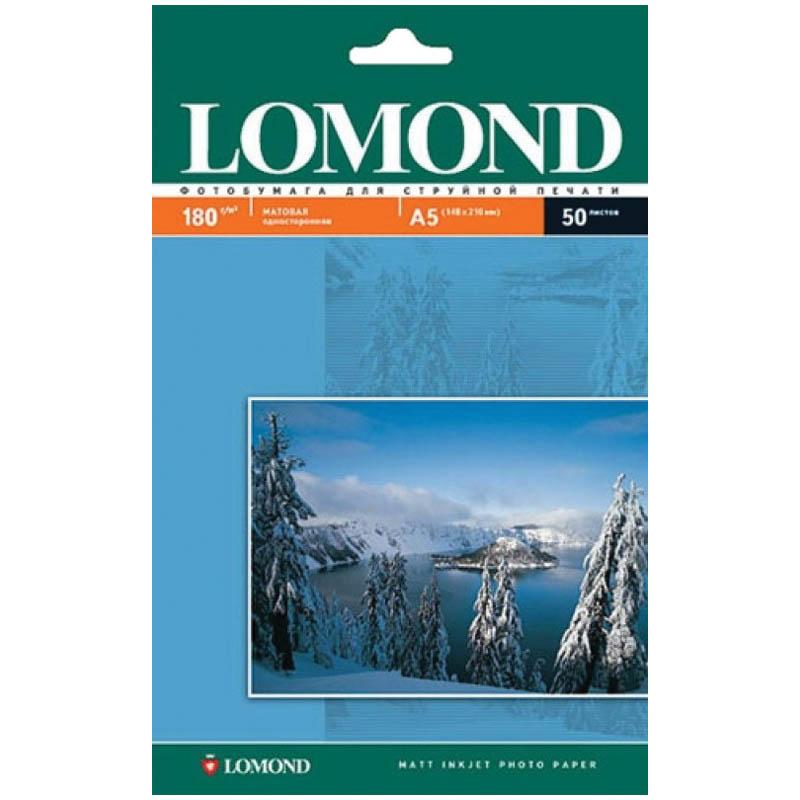 Фотобумага А5 (210*148) для стр. принтеров Lomond, 180г/м2 (50л) мат.одн.