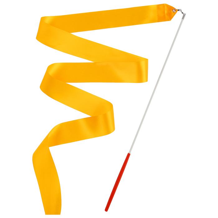 Лента гимнастическая с палочкой, 4 м, цвет оранжевый