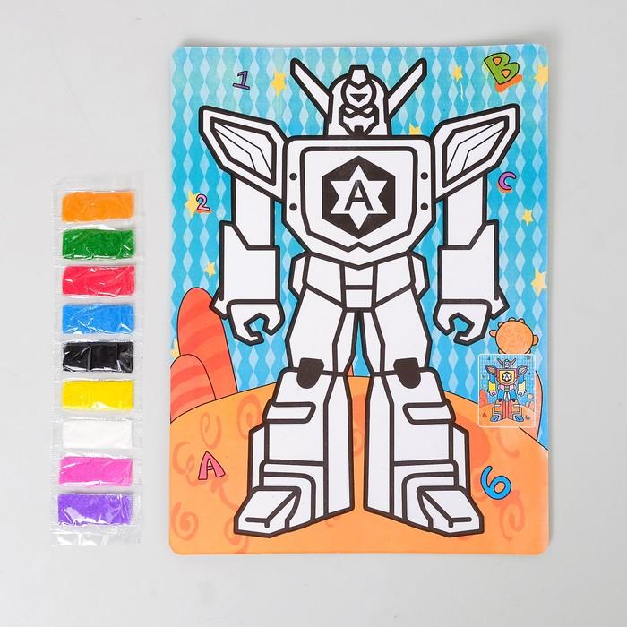 """Фреска с цветным основанием """"Трансформер"""" 9 цветов песка по 2 г"""