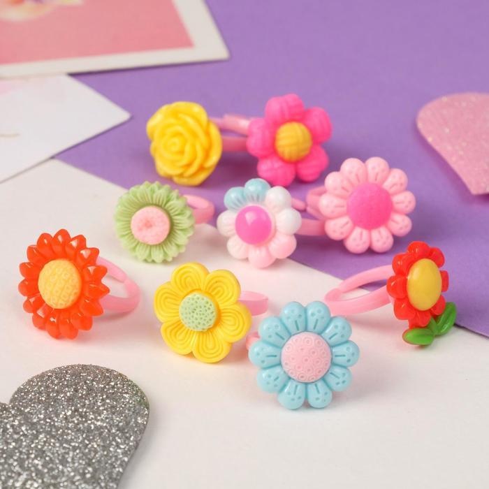 """Кольцо детское """"Выбражулька"""" цветочное ассорти, форма МИКС, цветное, безразмерное"""