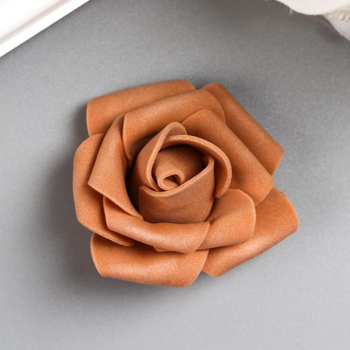 Розочка из фоамирана, коричневая d-4 см