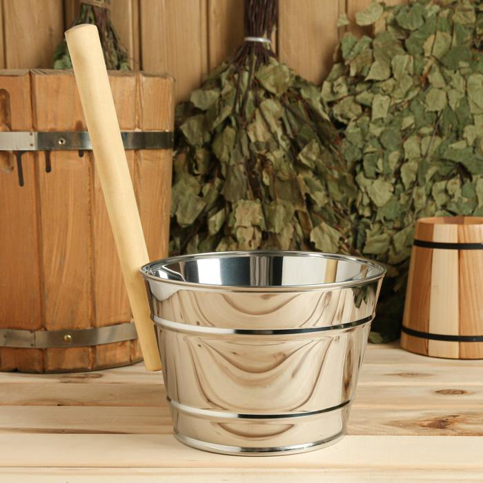 Ковш для обливания, металлический, с деревянной ручкой, 3 литра