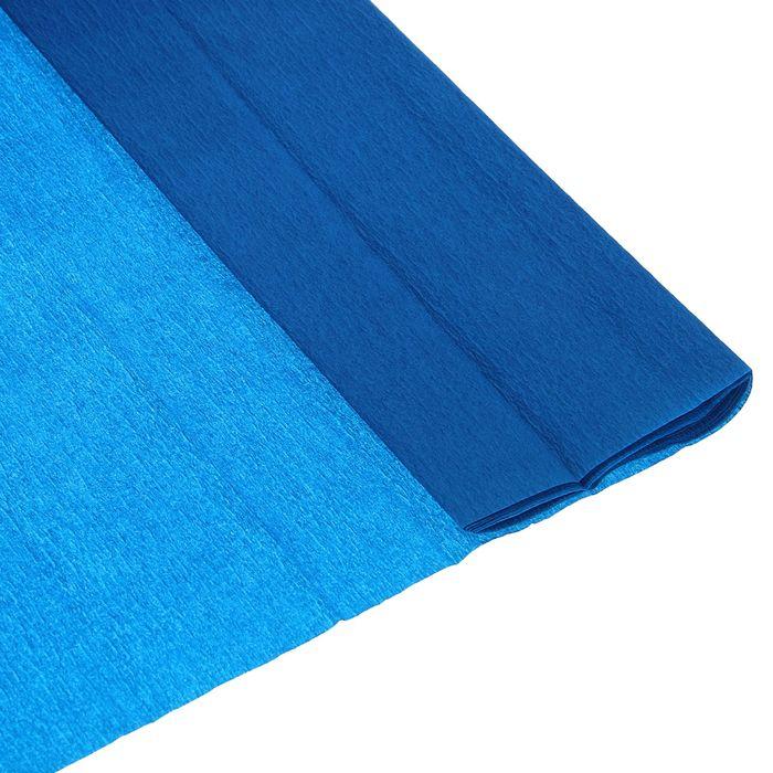 Бумага крепированная 50*200см плотность-32 г/м в рулоне Синяя в рулоне (80-42)
