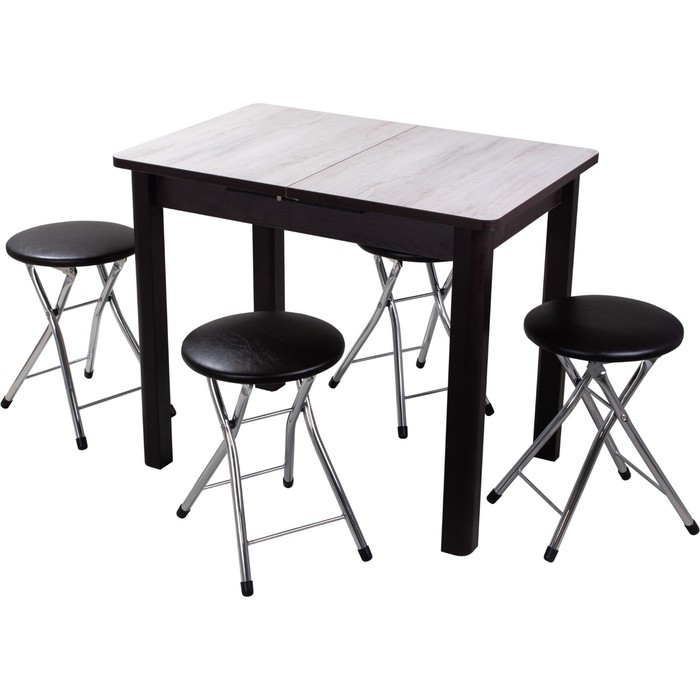 Обеденная группа, стол Джаз и 4 табурета Соренто, столешница 22мм, 880(1250)х600х750