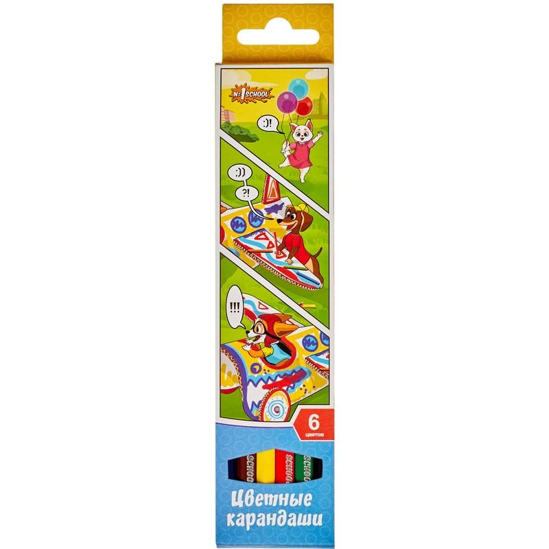 Карандаши цветные 6 цв 6-гран 1School Шустрики