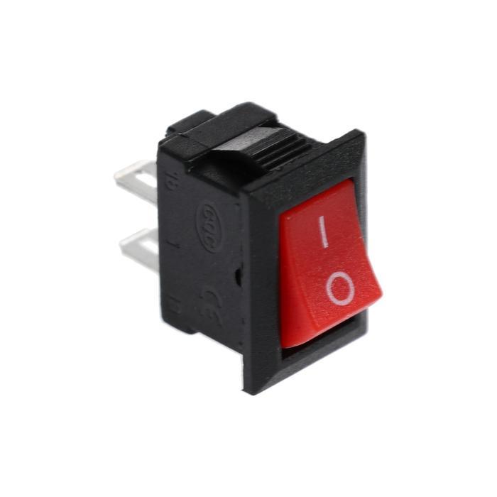 Клавишный выключатель, 250 В, 3 А, ON-OFF, 2c, красный