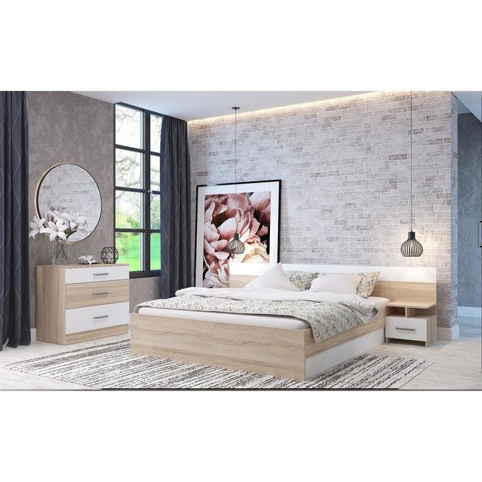 Спальня «Леси», кровать 160х200 см, 2 тумбы, комод, цвет сонома/белый