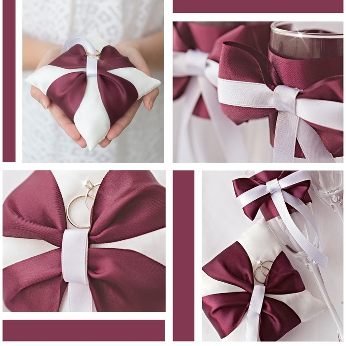 Подушечки для колец и бокалов «Роза любви», набор для шитья, 21 ? 15 см