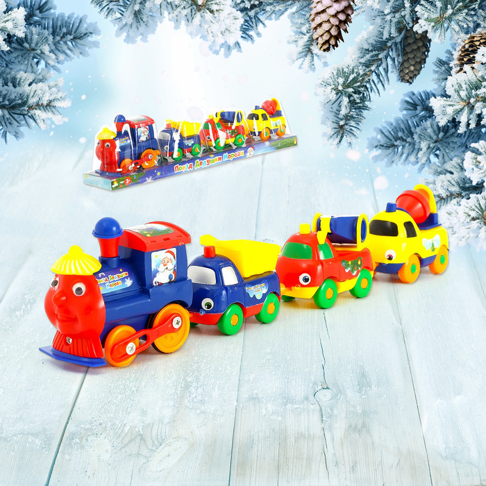Паровоз «Поезд Дедушки Мороза», работает от батареек, цвета МИКС