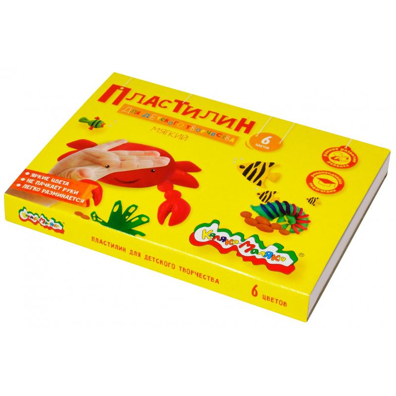 Пластилин Каляка-Маляка для детского творчества 6 цв.90г со стеком, ПКМ06-П