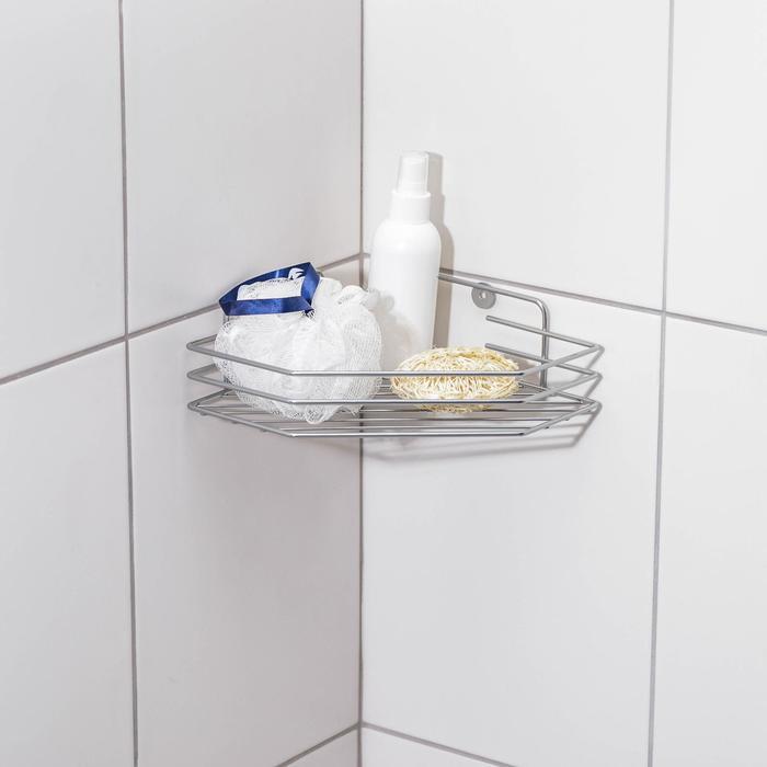 Полка для ванной угловая, 20,5?20,5?6,5 см, цвет хром