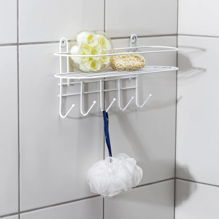Полка для ванной овальная, 5 крючков, 33?12,5?21 см, цвет белый