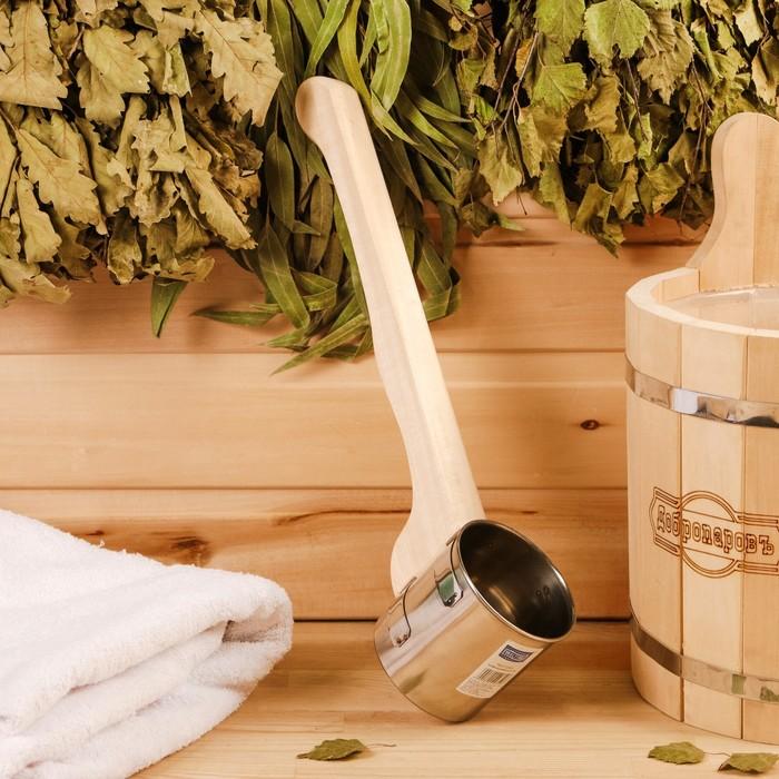 """Ковш для бани из нержавеющей стали, 0.5л, 42 см, с ручкой, """"Добропаровъ"""""""
